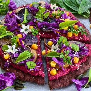 Black Bean Crust Pizza with Purple Hummus