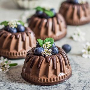 Triple Chocolate Mini Bundt Cakes