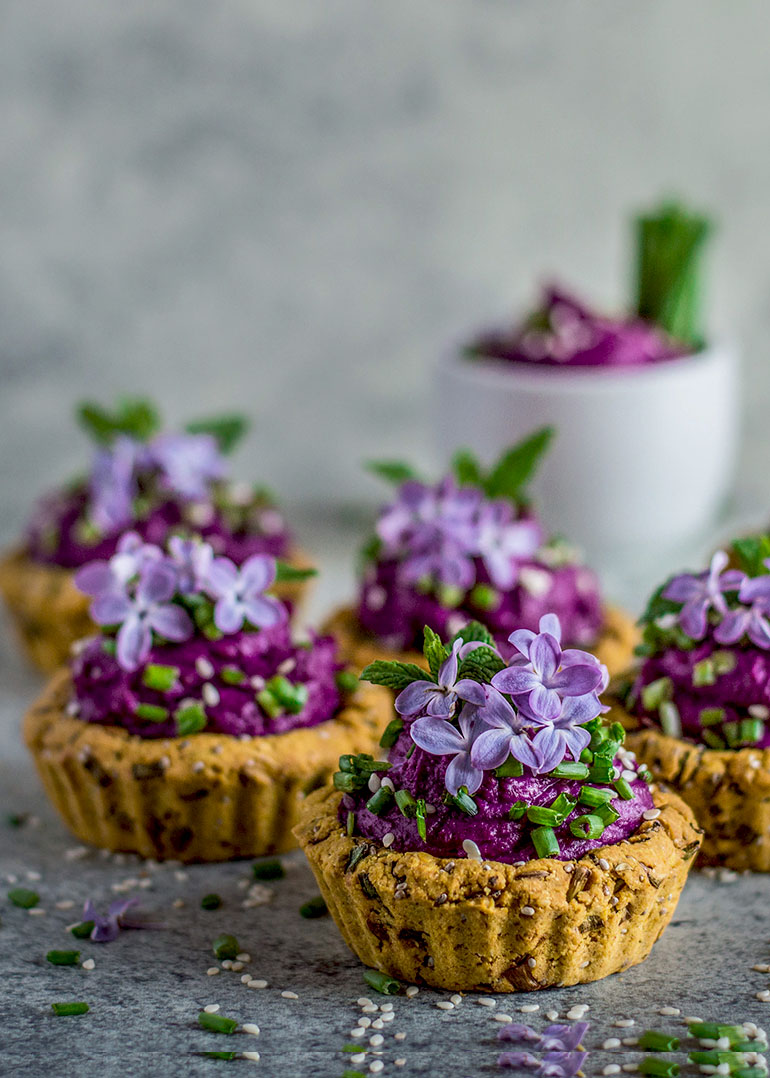 Chickpea Tarts with Purple Dip