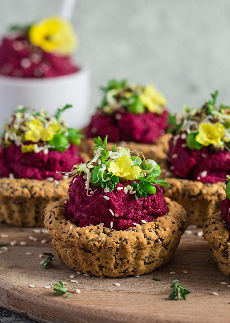 Savory Tarts with Beet Hummus