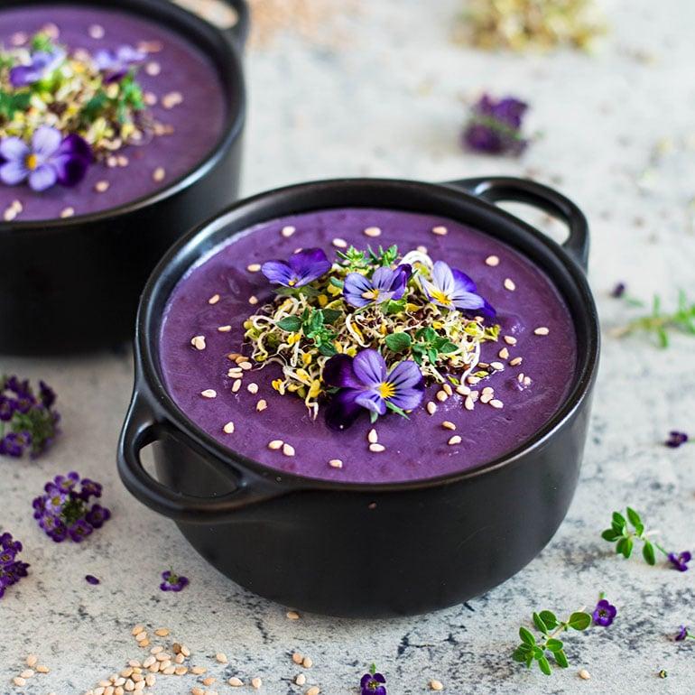 Purple Sweet Potato Cashew Cream Soup