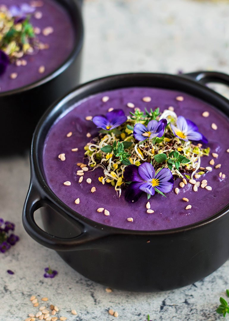 Purple Sweet Potato Cashew Cream Soup