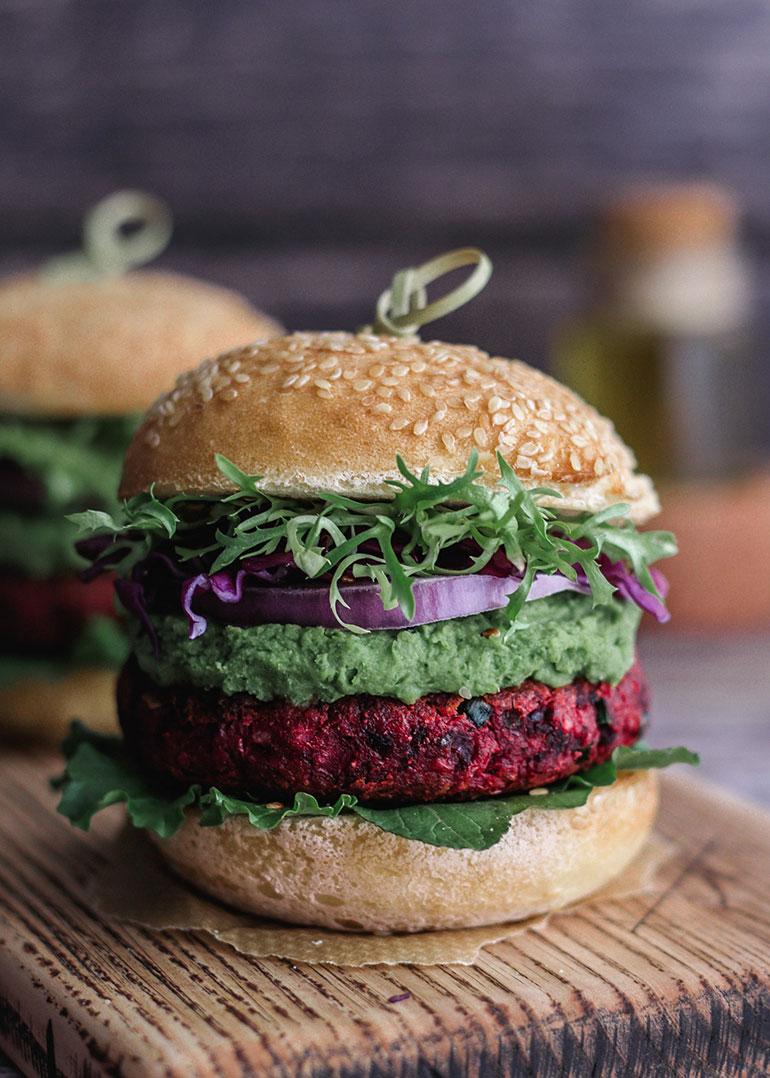 Chickpea Beet Veggie Burgers