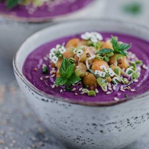 Purple Sweet Potato Chickpea Soup