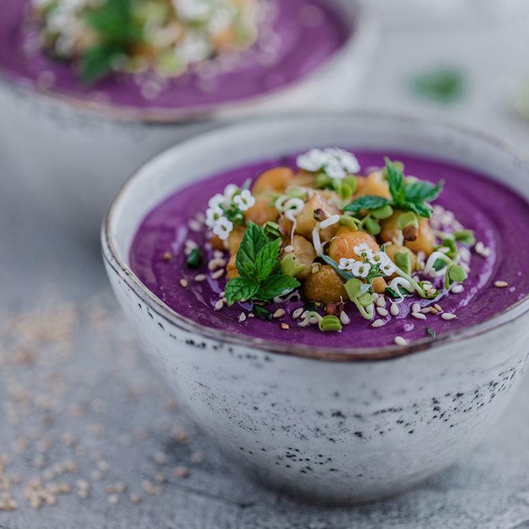 Purple Sweet Potato Chickpea Soup
