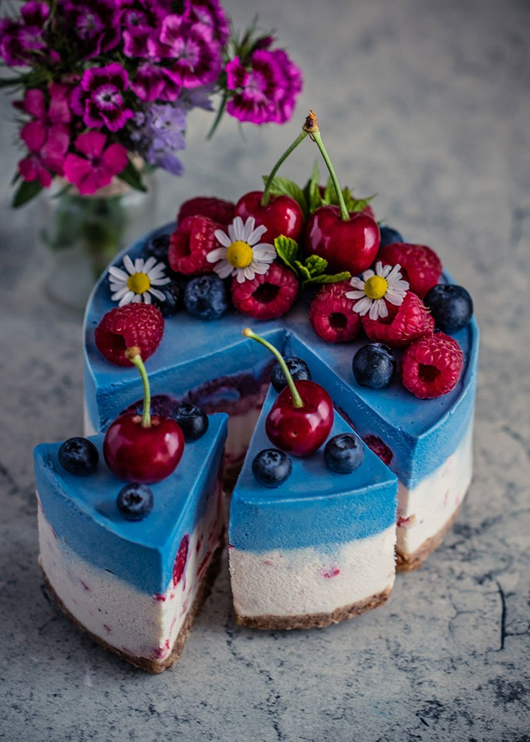 Coconut Blue Spirulina Raspberry Cheesecake