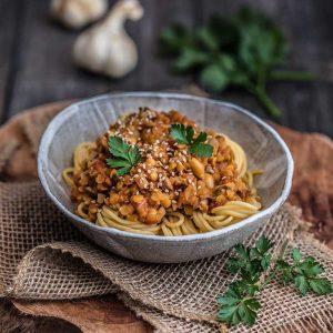 Vegan Lentil & Mushroom Bolognese