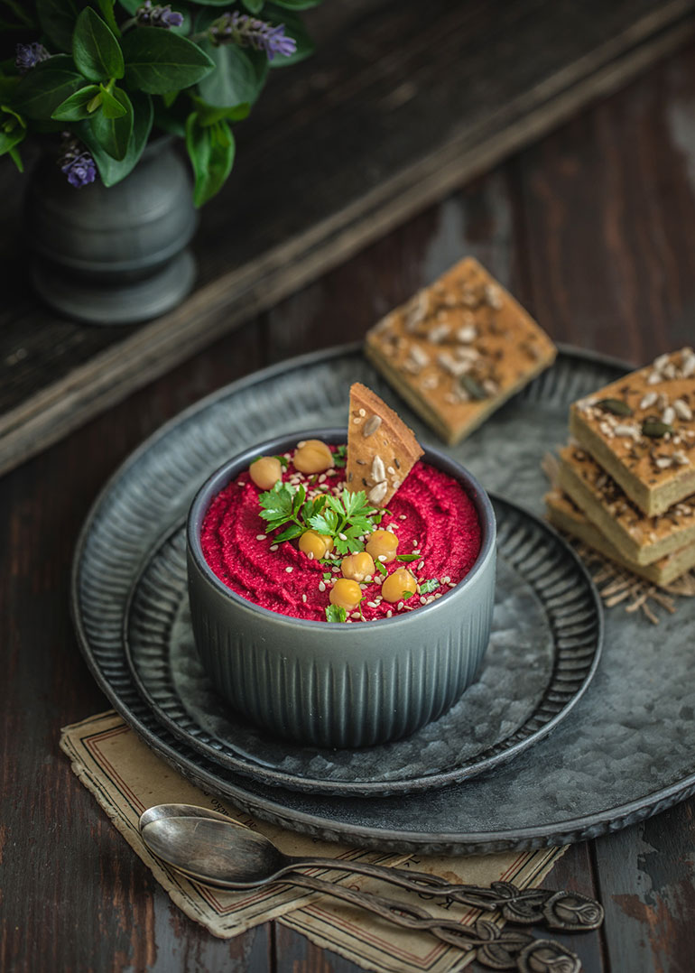 Oil-Free Roasted Beet Hummus