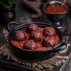 Tempeh Balls in Tomato Sauce