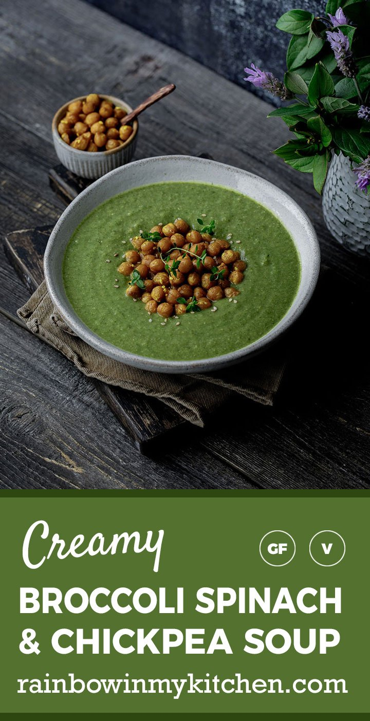 Broccoli Spinach and Chickpea Soup