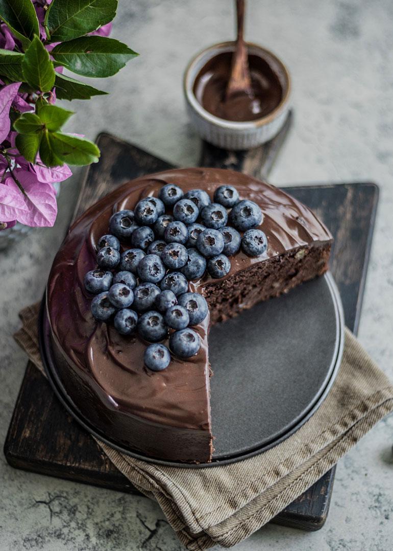 Coffee Walnut Double Chocolate Cake