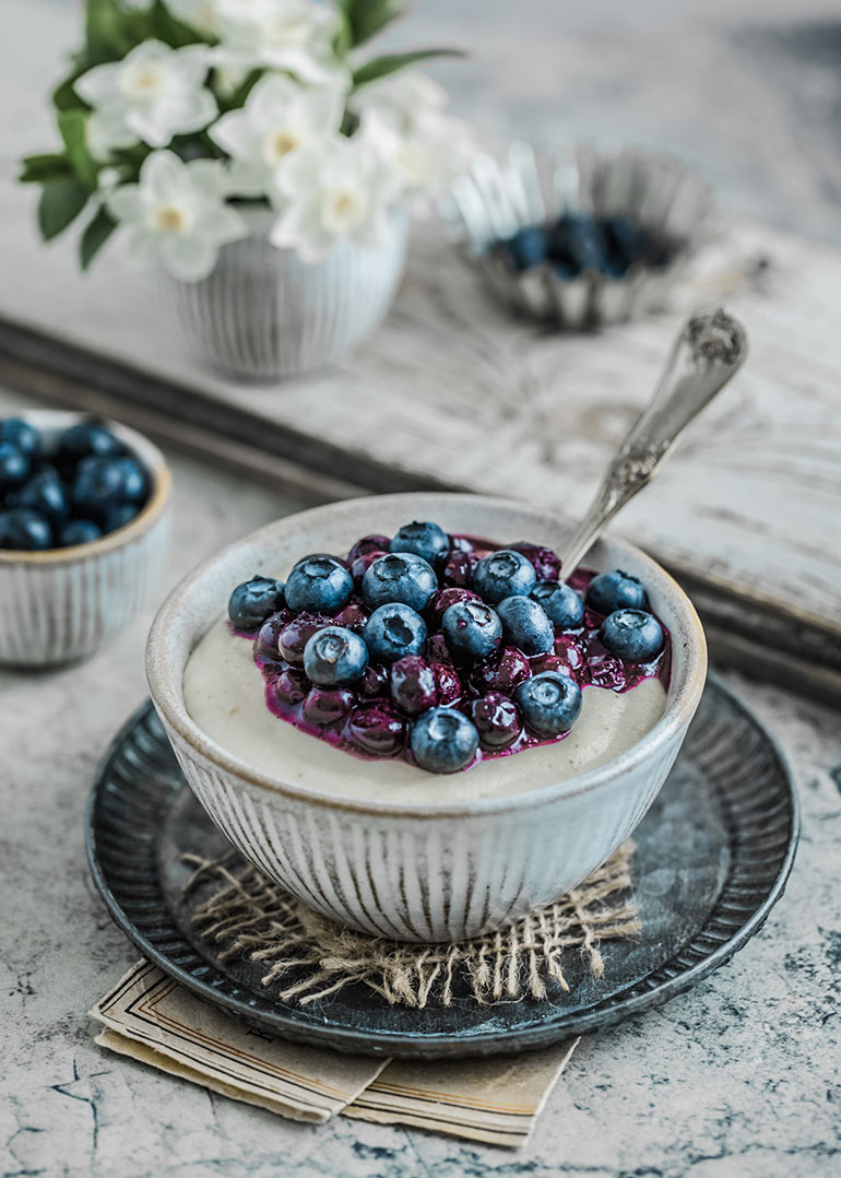 Millet Coconut Porridge with Blueberry Compote